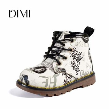 2018 Spring/Autumn New Children Boots For Girls Boys Baby PU Leather Zip Side Breathable Fashion Rubber Kids Martin Boots 21-30
