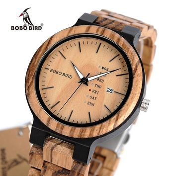BOBO BIRD Brand Calendar Watch With Quartz Movement And Wooden Strap Wristwatches Dress Watch relogio B-O26