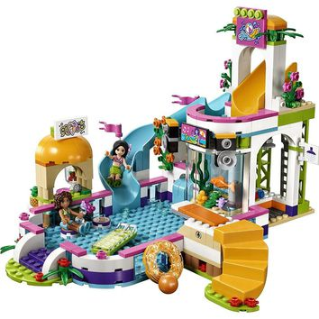 Lepin 01013 Friends 589pcs Building Blocks toy Heart Lake City Summer swimming pool kids Bricks toys girl gifts Compatible Legoe