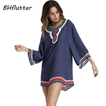 BHflutter Short Dress Women New Style 2018 Half Sleeve Embroidery Bohemian Dress Cotton Linen Casual Summer Dresses Vestidos