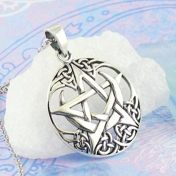 Celtic Moon Pentacle Necklace