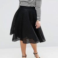 New Look Plus Mesh Stripe Prom Midi Skirt at asos.com