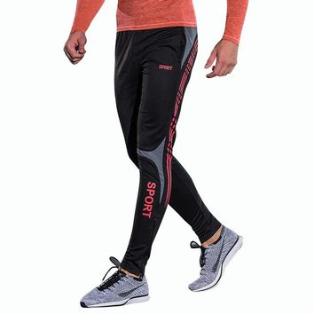 2018 Compress Gymming Leggings Men Fitness Workout Leggings Summer Sporting Thin Strip Fitness Male Long Pants
