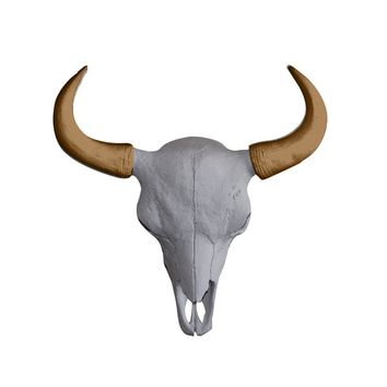 The Large Yellowstone Skull | Buffalo Bison Skull | Faux Taxidermy | White + Bronze Resin