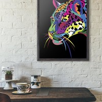 Colorful Jaguar Poster Print - Wall Art Room Decor Wild Animal Rainbow Predator Paper Prints - Abstract Jaguars Lovers Posters Gift