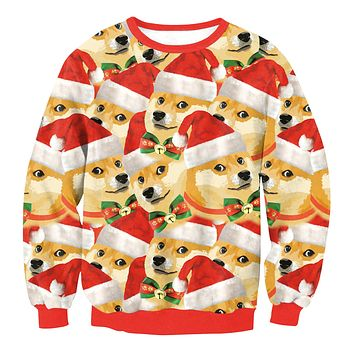 Cute Dog Digital Print Women Christmas Party Sweatshirt