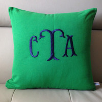 Monogram Pillow , Green Decorative Pillow, Fish Tail Monogram, Personalized Gift, Throw Pillow Cover , Three Letter Monogram Cushion