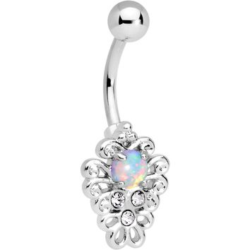 White Synthetic Opal Filigree Pendant Belly Ring