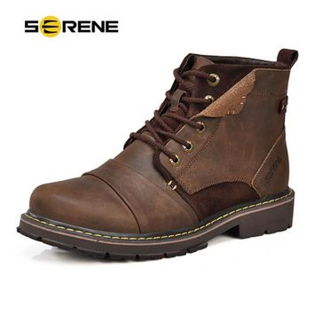 SERENE Brand Men Winter Boots Size 35~45 Warmest Genuine Leather Russian style Men Snow Boots Cow Split Leather Men Tooling Boot