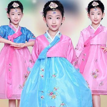 Girl Korean Traditional Costume Children Minority Folk Ancient Korea Hanbok Kids Show Stage Dance Clothing Asian Hanbok Dress