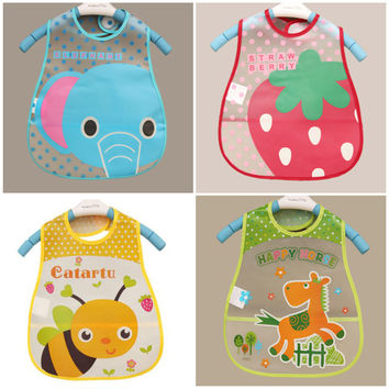 Baby Bibs EVA Waterproof Lunch Bibs Boys Girls Infants Cartoon Pattern Bibs Burp Cloths For Children Self Feeding Care