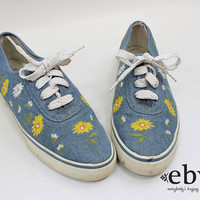 Vintage 90s Embroidered Floral Flat Tennis Shoes size 9 Chambray Shoes Denim Shoes Floral Shoes 90s Shoes Floral Keds 90s Keds Summer Shoes