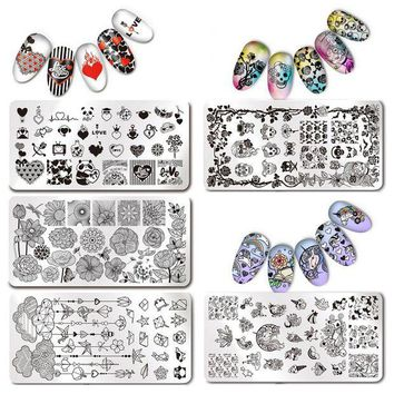 NOVO5 Unicorn Nail Stamping Plate Rectangle Image Plate Stainless Steel Nail Stamp Plates Manicure Stencil Stamp Polish Tools
