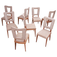 Set of Eight French Art Deco Solid Oak Dining Chairs