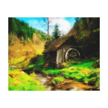 Retro Old Mill In Mountain Valley On Small River Canvas Print