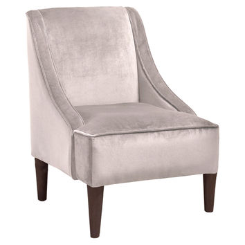Quinn Swoop-Arm Chair, Gray Velvet, Accent & Occasional Chairs