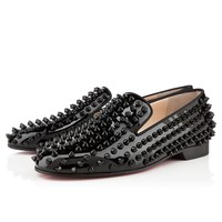 Rolling spikes flat black patent leather