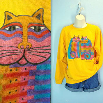 Cat Sweatshirt / 80s Laurel Burch Cat Top / Retro Cat Shirt