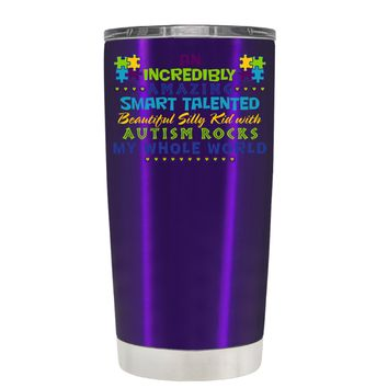 TREK An Amazing Smart Talented Kid with Autism on Translucent Purple 20 oz Tumbler Cup
