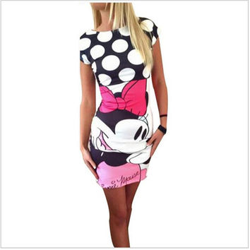 mickey minnie mouse women New summer mini cartoon dress female miki plus size mouse dress party short vestidos clothes clothing