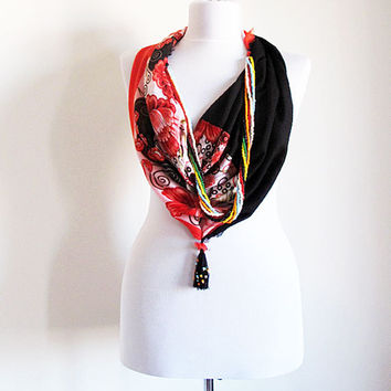 Jewelry Scarves, Turkish Scarf Jewelry, Circle Scarf, İnfinity Scarf, Orange flower Pattern and Black Combine, Fashion Scarf