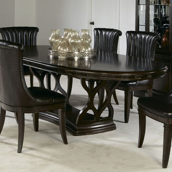 American Drew Bob Mackie Double Pedestal Oval Dining Table in Dark Brown
