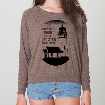 Cute Lighthouse Hipster Cool Sweater Fun Adorable American Apparel Womens Tri Blend Light Weight Raglan Pullover