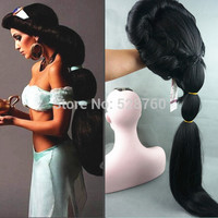 Anime Aladdin Jasmine princess Long Black Wig,classic halloween women Cosplay Wig Free shipping