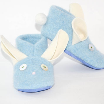 Boy Bunny Shoes, Kids Bunny Slippers, Easter Bunny Baby, Wool Bunny Shoes