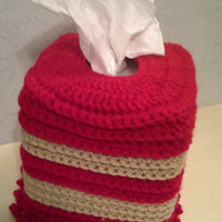 Crochet Square Tissue Box Cover, home accents, home decor, red and tan