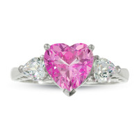 Heart-Shaped Lab-Created Pink and White Sapphire Ring in 10K White Gold