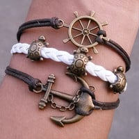 Nautical Bracelet - Ship Wheel, Little Turtles, Tortoise and Anchor Charm Bracelet in Bronze - brown Wax cords ,Friendship gift
