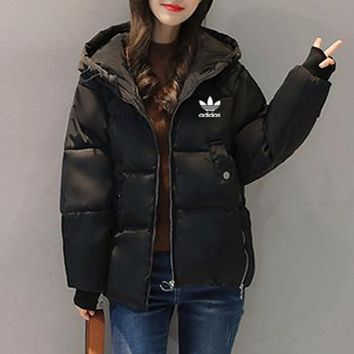 """Adidas"" Women Simple Fashion Zip Cardigan Hooded Long Sleeve Cotton-padded Clothes Jacket Coat"