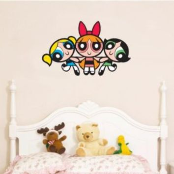 "Powerpuff Girls Cartoon Large Wall Decal 25"" X 15"""