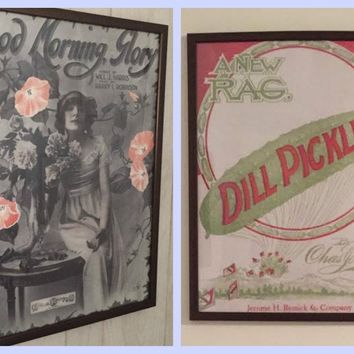 2 for price of 1 Christmas Gift Special - Buy One Get One FREE Bundle - Vintage Repro Posters 18x24 Dill Pickles & Flapper Girl with Roses