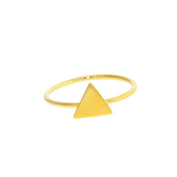Sterling Silver Triangle Pyramid Geometric Mid Finger Ring