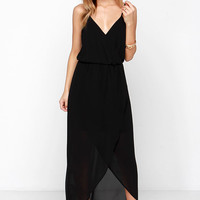 Wrap it Up Black Maxi Dress
