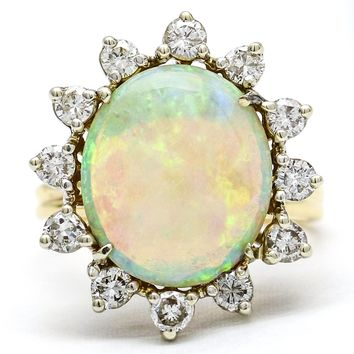 5 Carat Natural Australian Opal and Diamond Vintage Statement Ring