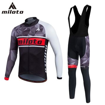 MILOTO 2018 PRO TEAM Cycling JERSEY Bike Pants set mens Ropa Ciclismo Uniform Bicycle clothes MTB Long sleeves Cycling Clothing
