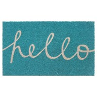 RE Blue Hello in Cursive Doormat