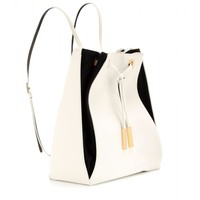Faux leather and suede backpack
