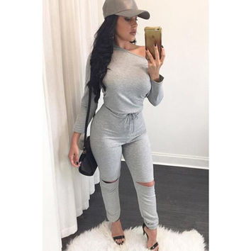 Gray Cutout Jumpsuit