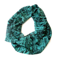 infinity loop scarf for her , chiffon scarves, eternity summer spring accessory , green and black