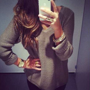 Soft Comfortable Knitted Loose Pullover Tops Sweater