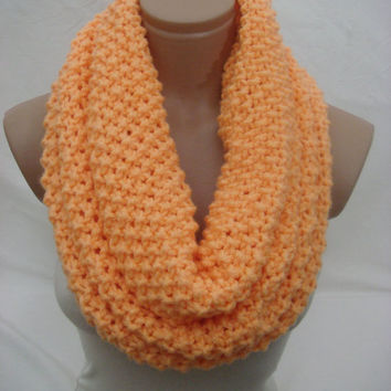 Knitted Hooded Cowl/Scarf/Neck Warmer (Solid Orange) by Arzu's Style
