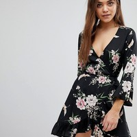 Influence Floral And Bird Print Ruffle Detail Wrap Dress at asos.com