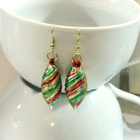Gold, Red, and Green Spiral Christmas Ornament Earrings - Repurposed Christmas Ornaments Womens Jewelry