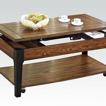 Acme 80260 Magus brown oak and black finish wood lift top coffee table with storage underneath and lower shelf