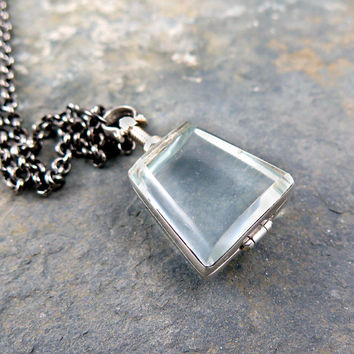 SALE-15% Antiqued Glass Locket Pendant Trapezoid Necklace Mother's Day Gift Sterling Silver Keepsake Jewelry Photo Locket