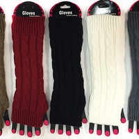 cable knit textured long fingerless gloves Case of 12